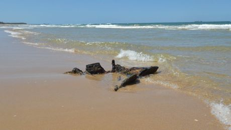 Reappearance of the Dicky shipwreck. It was firsty noticed on Saturday (07/11/15 )by beach goers Photo: Warren Lynam / Sunshine Coast Daily