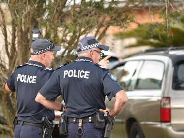 Police and paramedics at the scene of a firearm incident in Martin St, Point Vernon. Photo: Alistair Brightman / Fraser Coast Chronicle
