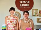 Earth Temple Studio printing workshop in Nambour. (from left) Melody Neale and Lara Stone will be running the screen printing workshop over the weekend. Photo: Che Chapman / Sunshine Coast Daily
