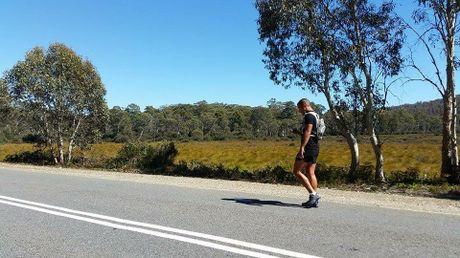 Jamie Milne during his epic run around Tasmania.