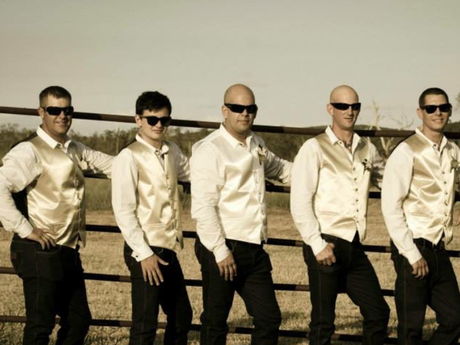 The groomsmen for Jason and Jess Greenaway's wedding. Tom is second from the left.