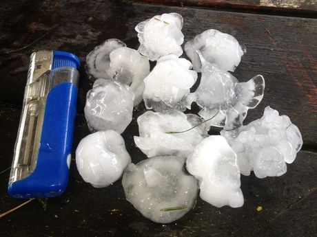Craig Commen's photo of hail in Oakey.