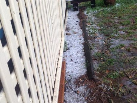 "Megan King of Warwick said: ""This is the hail that's built up at my place""."