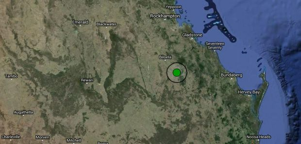 The location of the earthquake near Monto on Tuesday night.