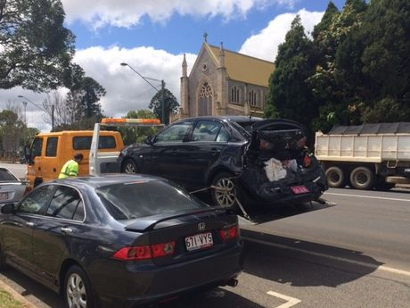 The sedan involved in a collision with a petrol tanker on James St in the Toowoomba city this morning.