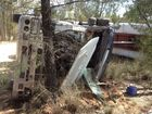 <strong>UPDATE: </strong> The driver of a truck which rolled west of Toowoomba has been airlifted to hospital.
