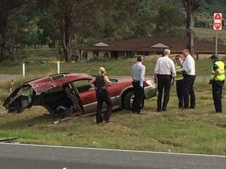 The crash scene in the Lockyer Valley.