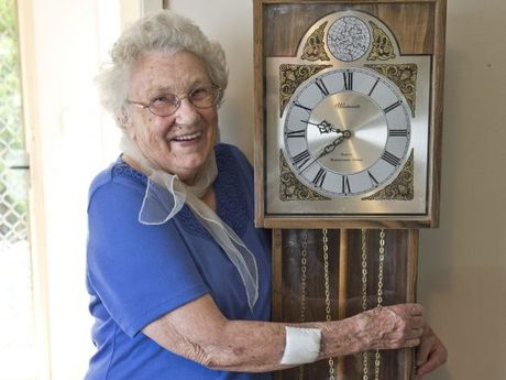 HANDS OFF: South Toowoomba's Gladys Teis, 85, stopped an intruder from stealing her grandfather clock.