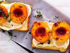 A different idea: roasted peaches on brioche.