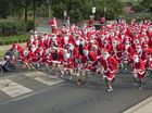 Hundreds of Santas start in the Variety Santa Fun Run with proceeds to support children needing the care of Toowoomba Hospital's emergency department.