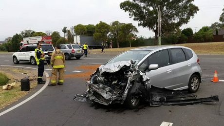 This sedan crashed into a truck earlier this morning. Photo Contributed