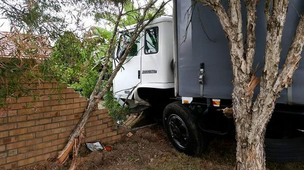 Unable to avoid a crash this truck ended up in a brick wall. Photo Contributed