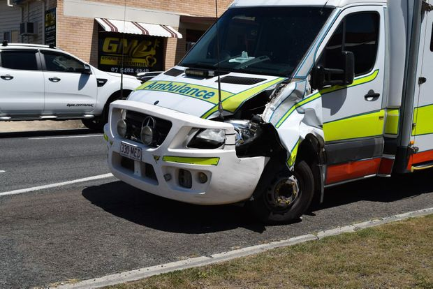 A Gympie ambulance shows damage after being involved in accident at the Stuart Tce and Horseshoe Bend intersection while on a call out.