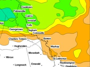 The rainfall outlook for Christmas Day for the region. Photo: Bureau of Meteorology.