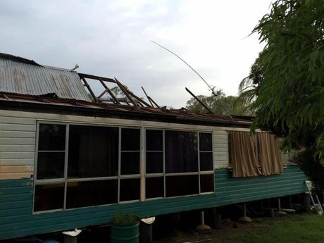 A house damaged in the Bowenville area after a dangerous strom hit last night.