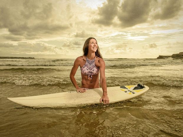 HOME BREAK: Professional squash player Donna Urquhart is back in town over Christmas itching to get back on her board and surf her home breaks around Yamba.
