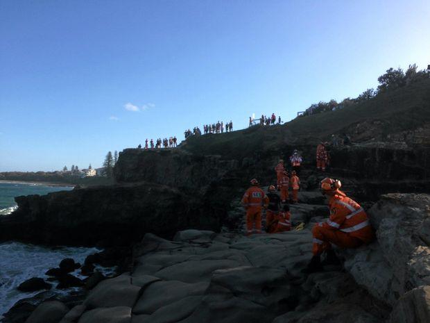 Rescue taking place at rocks near Turners Beach, Yamba