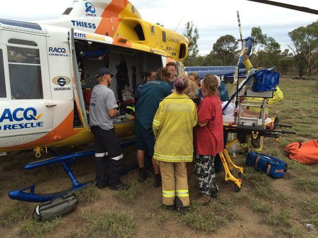Crash near Tieri, photo by RACQ CQ Rescue.