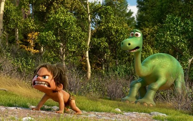 A scene from the animated film Good Dinosaur.