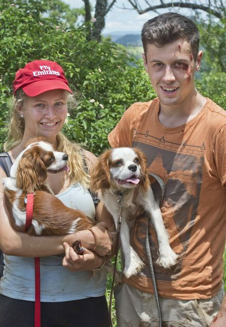 ( From left ) Saskia Van Schie and Kieran Smith with dogs Molly and Patrick. Kieran Smith is lucky to survive fall on Table Top after going to rescue of dog . Wednesday, Jan 6, 2016 . Photo Nev Madsen / The Chronicle
