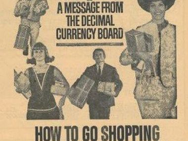 An ad from 1966 to help people adjust to the decimal currency change-over.
