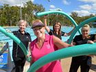GET INTO IT: Cr Lynne Forgan, Rose Fraser, Sandie Borg and Tracey Davies promote the Be Active, Be Alive program at Norville Pool. Photo: Max Fleet / NewsMail