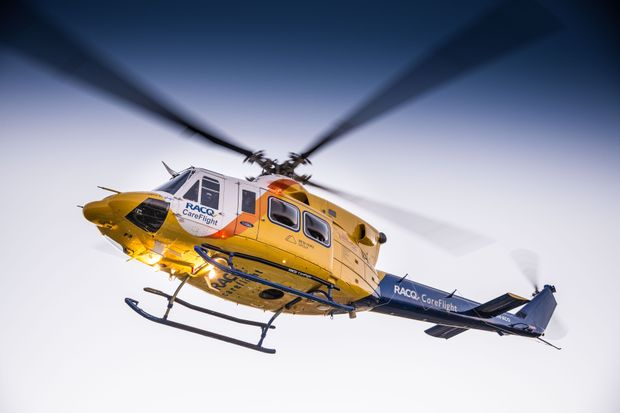 A baby was airlifted from the Mary Valley to Brisbane after suffering hot water burns last night.