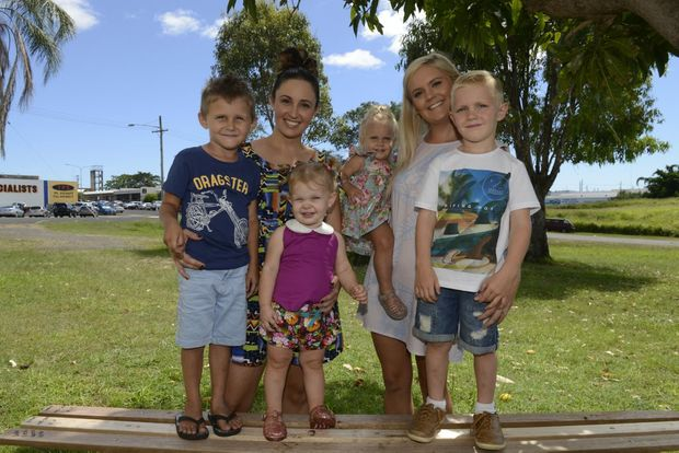 TIMING: Eli, Kirsten and Aylah Hansen with Addison, Miranda and Eli Lammin. Photo: Mike Knott / NewsMail