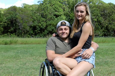 SHOW OF SUPPORT: Luke Watt with partner Bridie Evans, who has been a massive part of his success and, inset, the beloved Toyota Corolla that needs to be rebuiilt following a crash.