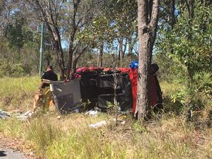 Car rollover near the Bruce Hwy at Maryborough