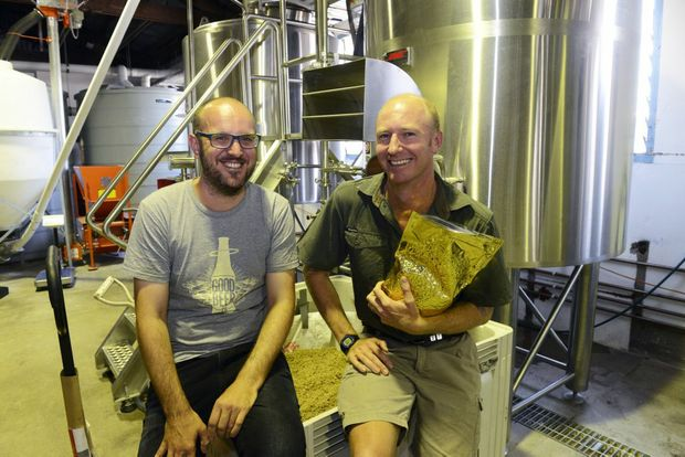 GREAT BARRIER BEER: The Good Beer Co. founder James Grugeon and Bargara Brewing Company co-owner Jack Milbank. Photo: Mike Knott / NewsMail