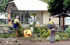 Storm clean up - Clean up began in the early hours on Scarness Esplanade. Photo: Valerie Horton / Fraser Coast Chronicle
