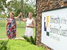 University of the Sunshine Coast - Fraser Coasrt Campus - handover of keys from (L) Prof Janet Verbyla (Snr Dep V/Chancellor USQ) to Prof Birgit Lohmann (Acting V/Chancellor USC) Photo: Alistair Brightman / Fraser Coast Chronicle