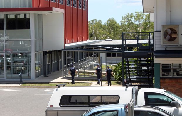 Police in Glenmore State High School in Rockhampton During bomb threat.