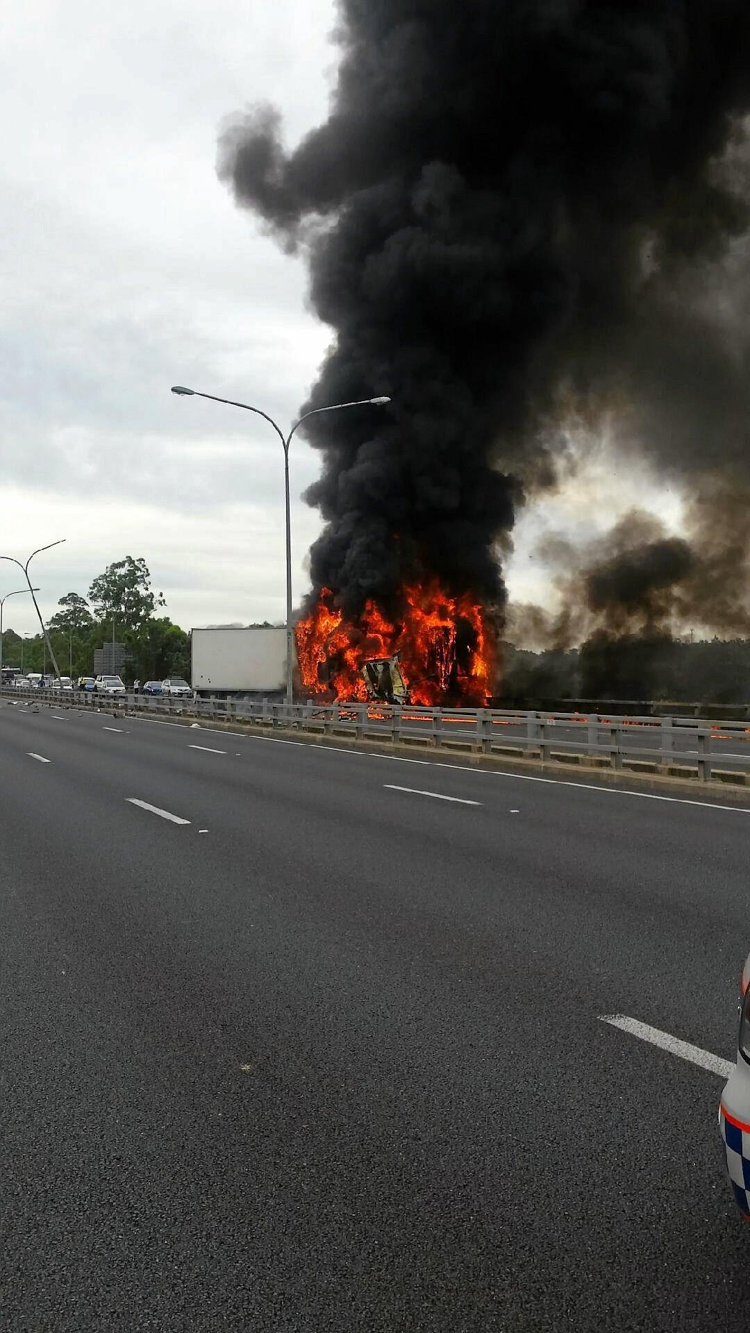 A Bill Ward Transport Volvo prime mover carrying fish and kangaroo meat crashed and caught fire on the M1 Motorway at Nerang on Tuesday leaving Mr Ward with an insurance claim of more than $1 million.  Photo: contributed