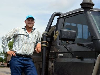 Mark Bogle of Mayfield, Dingo went through hell and high water to make it to this morning's cattle sale in Emerald. Photo Amber Hooker / CQ News