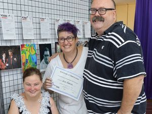 Artists Destiny Whelan, Kate Roberts and Glen Smith promote an initiative to highlight the work of local artists at Arttime Supplies.