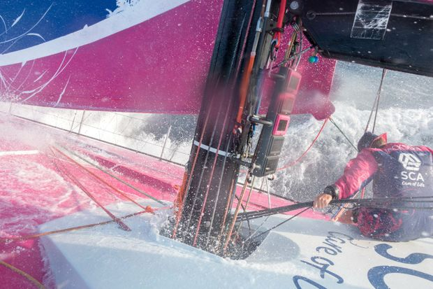 Stacey Jackson on the bow of Team SCA during the last Volvo Ocean Race.
