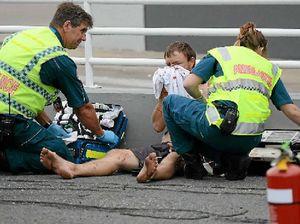 CAR CRASH: Paramedics on scene at the crash of a car that was hijacked on Sunday at City Centre Plaza.