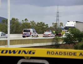 Car removed after bridge crash but truck is broken down