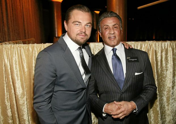 Leonardo DiCaprio, left, and Sylvester Stallone attend the 88th Academy Awards Nominees Luncheon at The Beverly Hilton hotel on Monday, in Beverly Hills, California. The pair will receive a goodie bag each worth