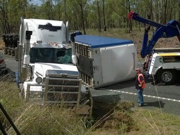 A truck rollover near Marlborough on the Bruce Hwy.  PHOTO: WIN News Central Queensland
