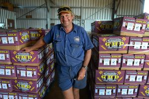 SWEET POTATOES: Farmer Darren Zunker in the packing shed on his Hummock Road farm. Photo: Mike Knott / NewsMail