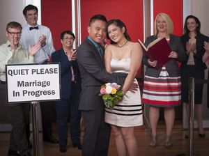 Duane and Monikia get married at the NSW Registry of Births, Deaths and Marriages in a scene from the TV series Hatch, Match and Dispatch. Supplied by ABC TV.