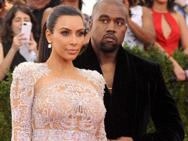 LOOK AT ME: Kanye west, right, with Kim Kardashian, is said to display narcissistic traits.