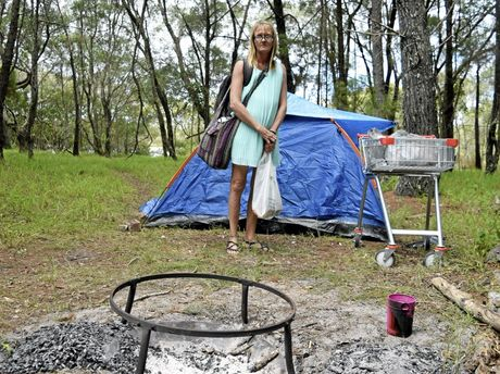 HEARTBREAKING: Mother of three Michelle Baker, who is terminally ill with cancer, is current living out of a tent at Yamba as she has been unable to find permanent accommodation.