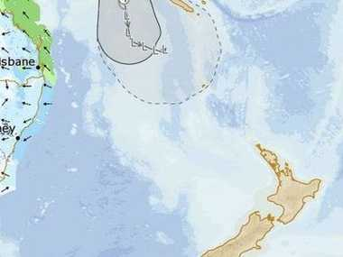 Twin cyclones born only hours apart are growing above New Zealand. Photo: Bureau of Meteorology / WeatherWatch.co.nz