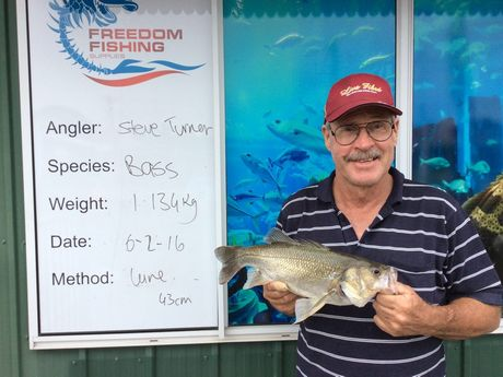 Steve Turner also landed himself a nice bass. This one weighed-in at 1.134kg and jumped on his lure. Photo Freedom Fishing Supplies / Fraser Coast Chronicle