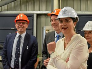 Premier Annastacia Palaszczuk, pictured with (from left) QUT Associate Professor Ian O'Hara and Member for Mackay Julieanne Gilbert at the Racecourse Mill biofuel pilot plant last year, yesterday committed to building a new renewable energy industry.