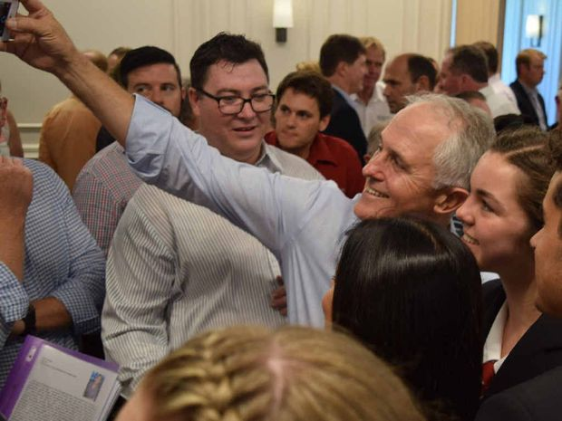 Prime Minister Malcolm Turnbull with students Meghan Dansie and Joel Bennington.